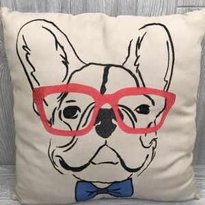 french bulldog in glasses throw pillow 19""